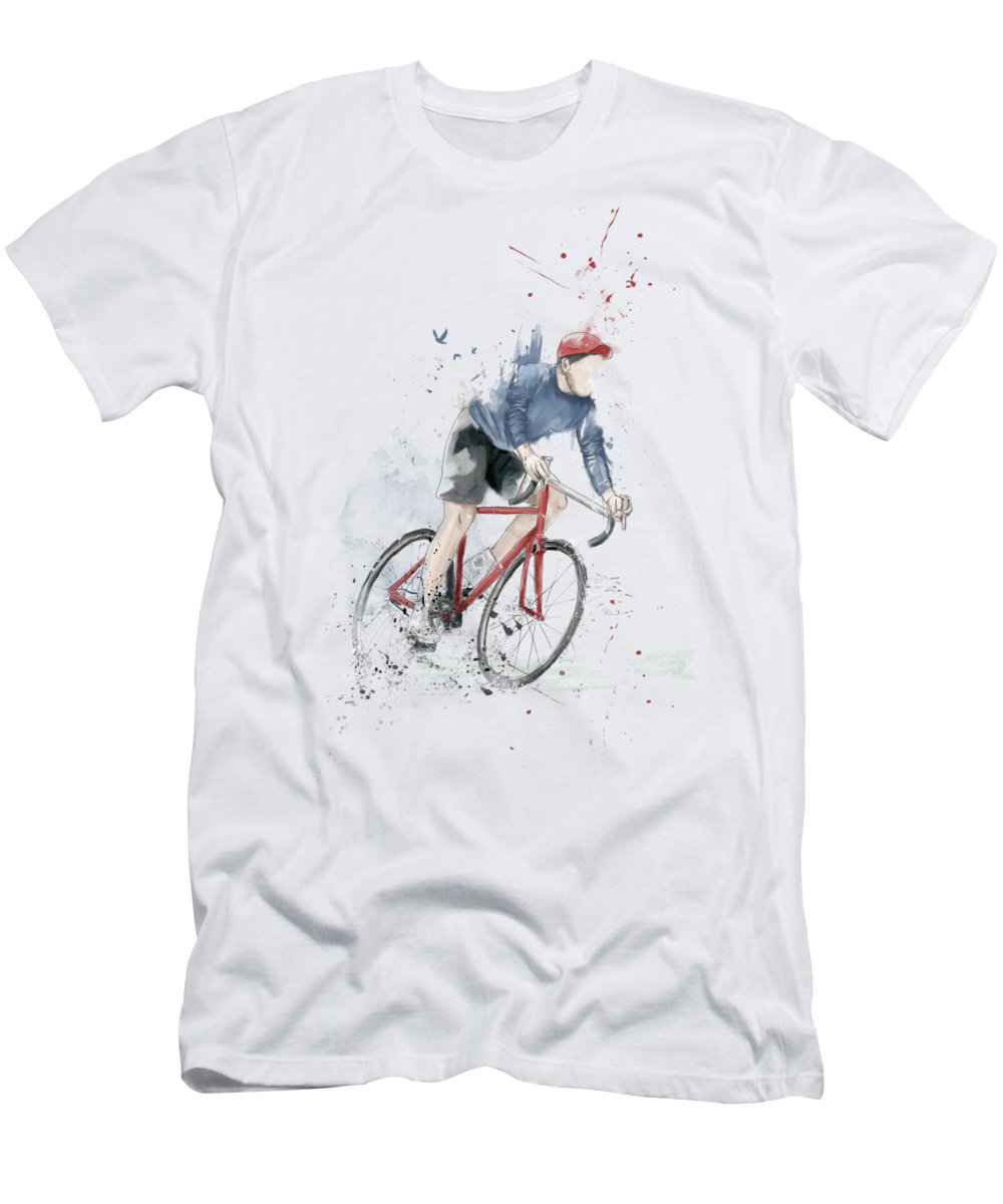 Bike Men's T-Shirt (Athletic Fit) featuring the mixed media I Want To Ride My Bicycle by Balazs Solti