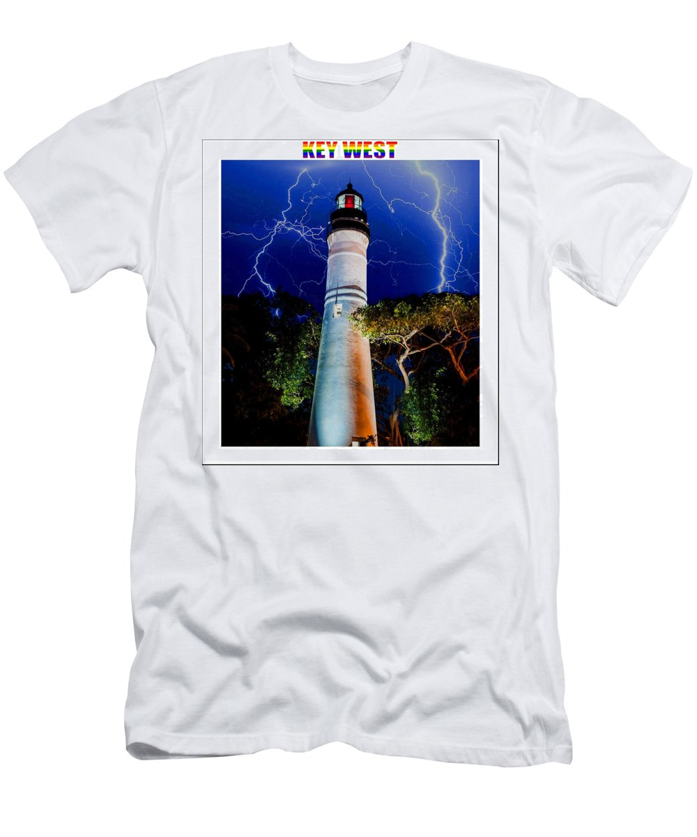 Key West Men's T-Shirt (Athletic Fit) featuring the mixed media Key West Lighthouse by Jas Stem