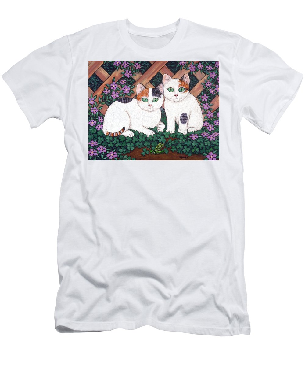 Cats Men's T-Shirt (Athletic Fit) featuring the painting Kittens And Clover by Linda Mears