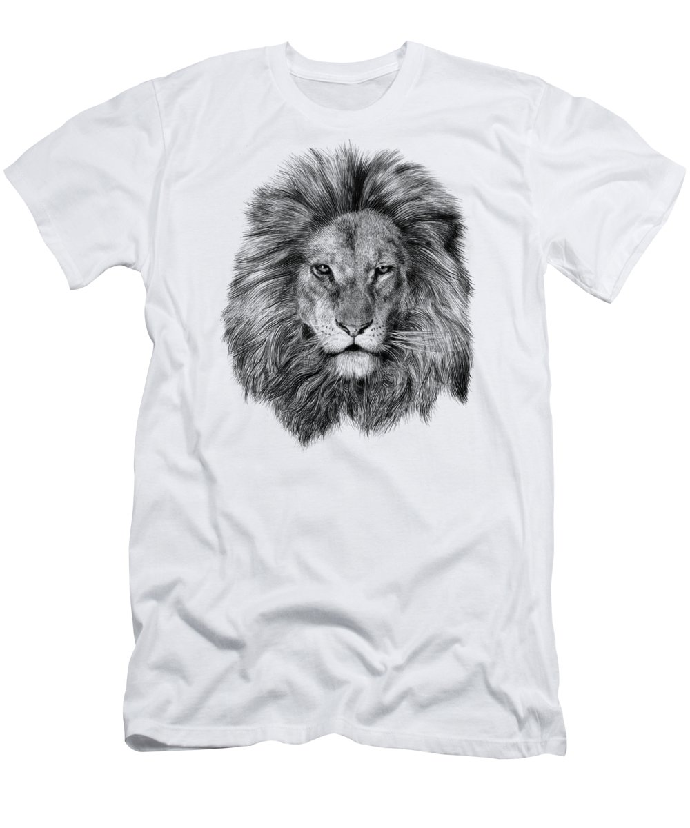 Lion Men's T-Shirt (Athletic Fit) featuring the drawing Leo by Eric Fan