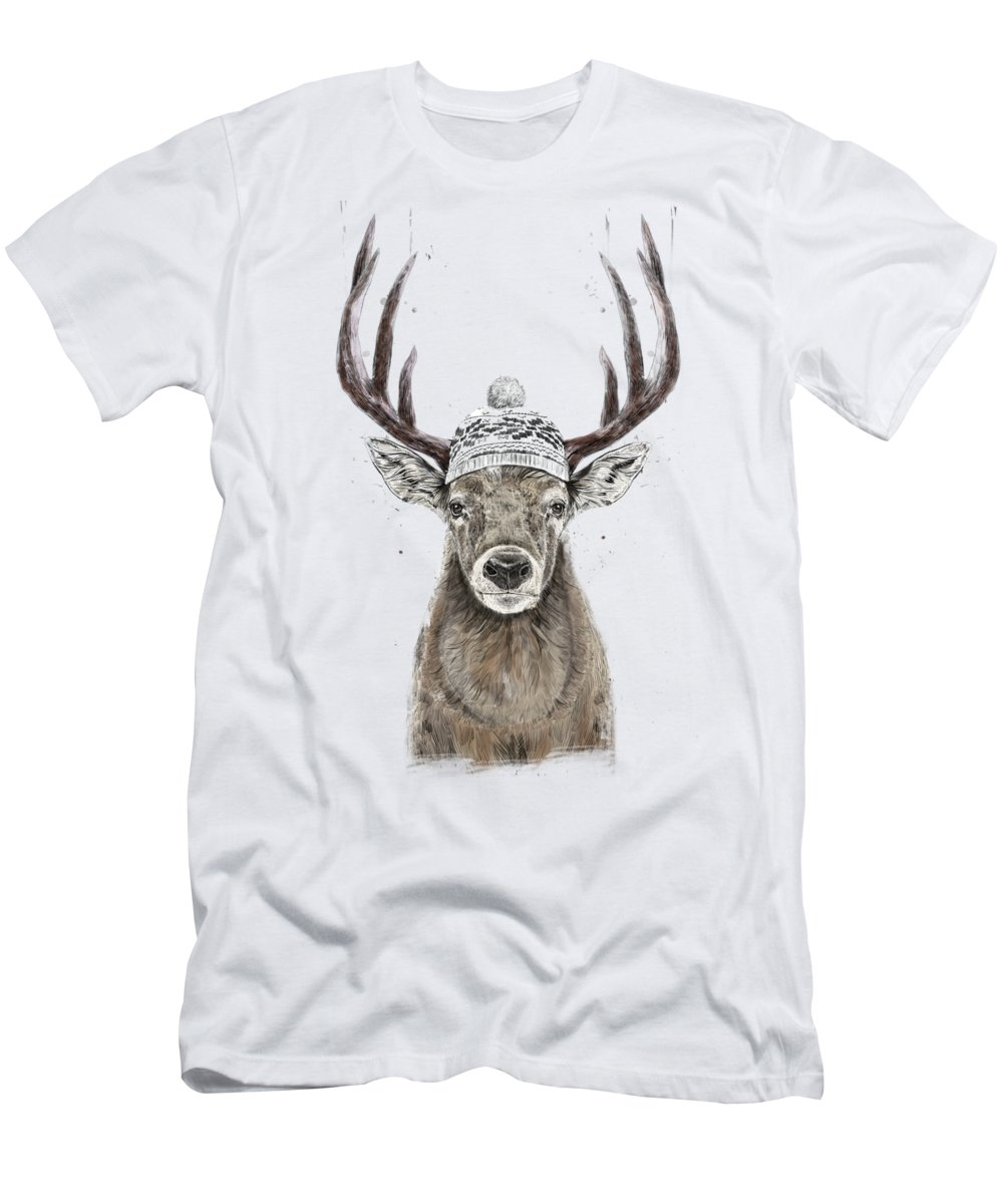 Deer Men's T-Shirt (Athletic Fit) featuring the mixed media Let's Go Outside by Balazs Solti