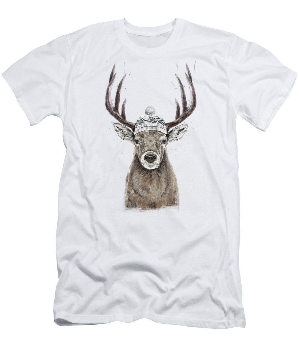 Deer T-Shirt featuring the mixed media Let's Go Outside by Balazs Solti