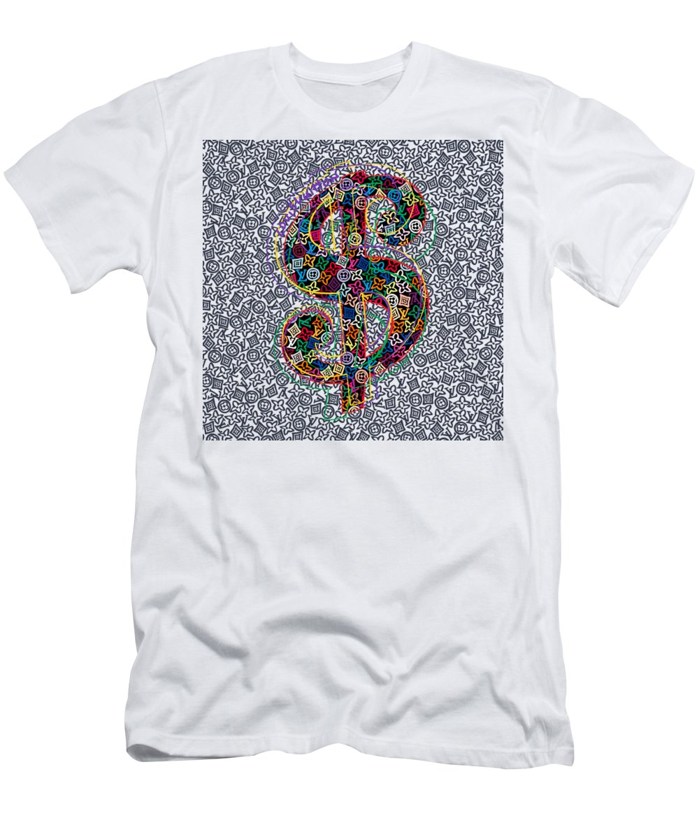 Lv Men's T-Shirt (Athletic Fit) featuring the painting Louis Vuitton Dollar Sign-5 by Nikita
