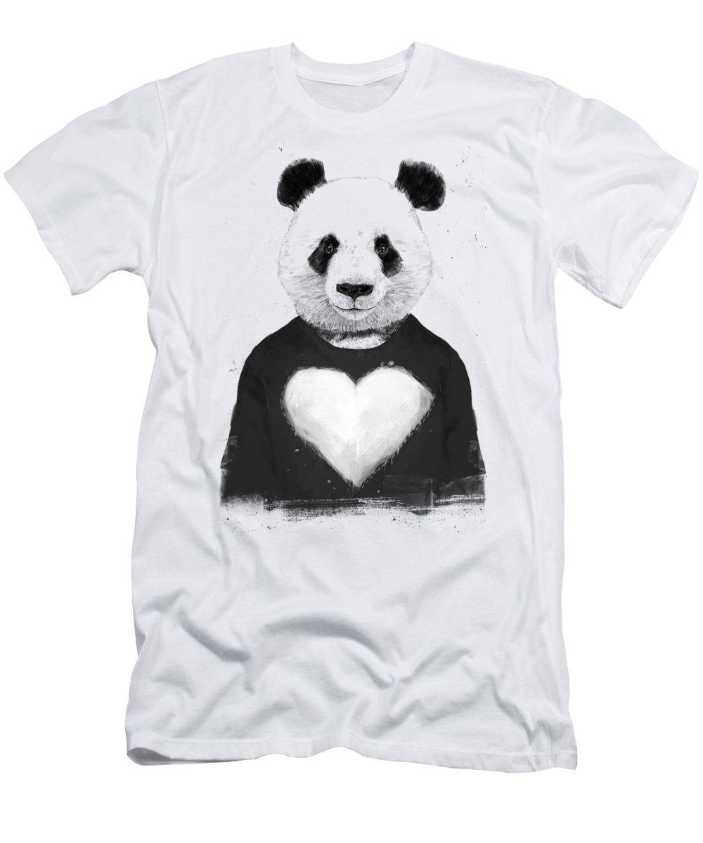 Panda T-Shirt featuring the mixed media Lovely panda by Balazs Solti