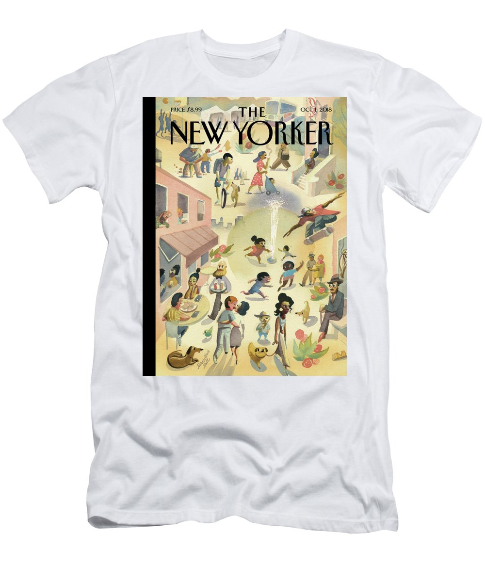 Lower East Side Men's T-Shirt (Athletic Fit) featuring the painting Lower East Side by Marcellus Hall