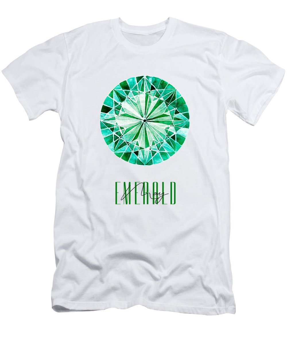 Amanda Lakey Men's T-Shirt (Athletic Fit) featuring the mixed media May Birthstone - Emerald by Amanda Lakey