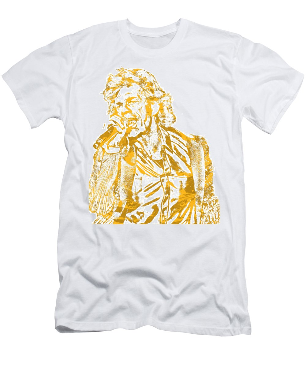 Mick Jagger T-Shirt featuring the mixed media Mick Jagger Rolling Stones Rock And Roll Pixel Art 2 by Joe Hamilton