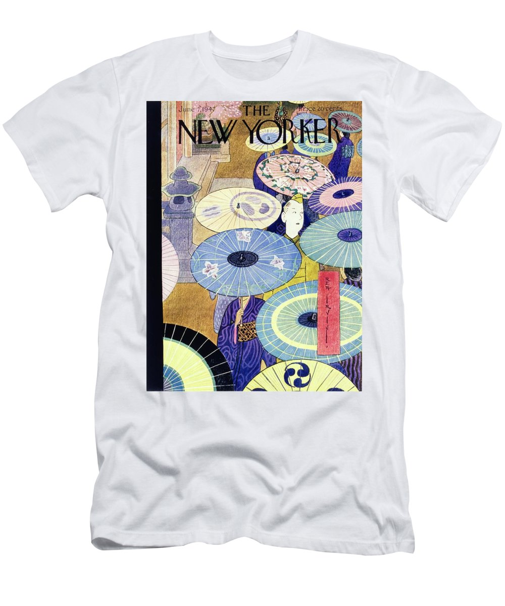 Illustration Men's T-Shirt (Athletic Fit) featuring the painting New Yorker June 7, 1947 by Rea Irving