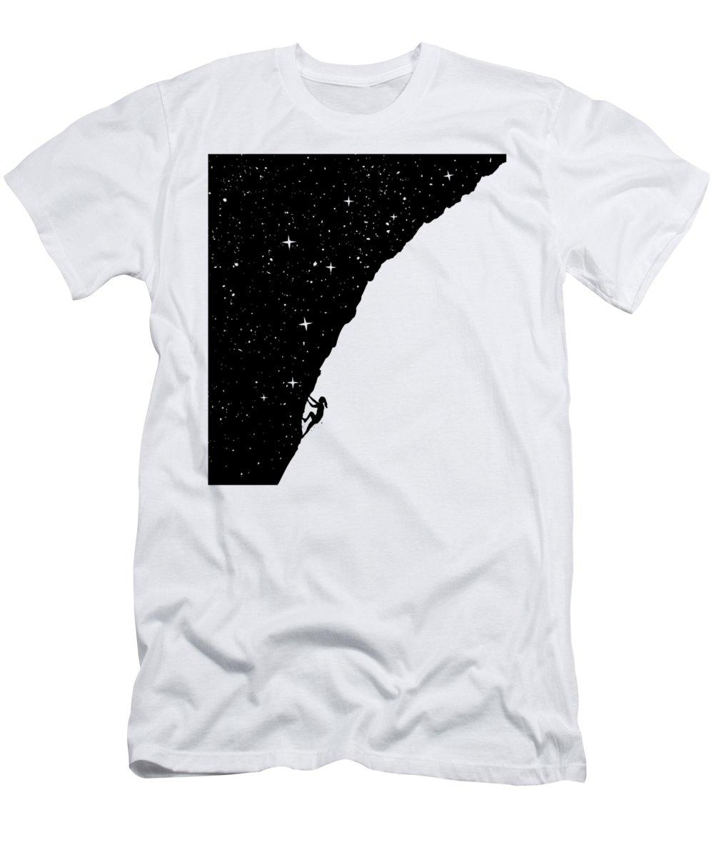 Night T-Shirt featuring the mixed media Night climbing by Balazs Solti