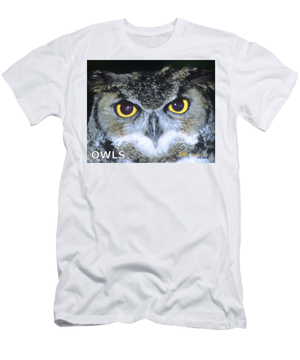 Owls Men's T-Shirt (Athletic Fit) featuring the photograph Owls Mascot 4 by Larry Allan
