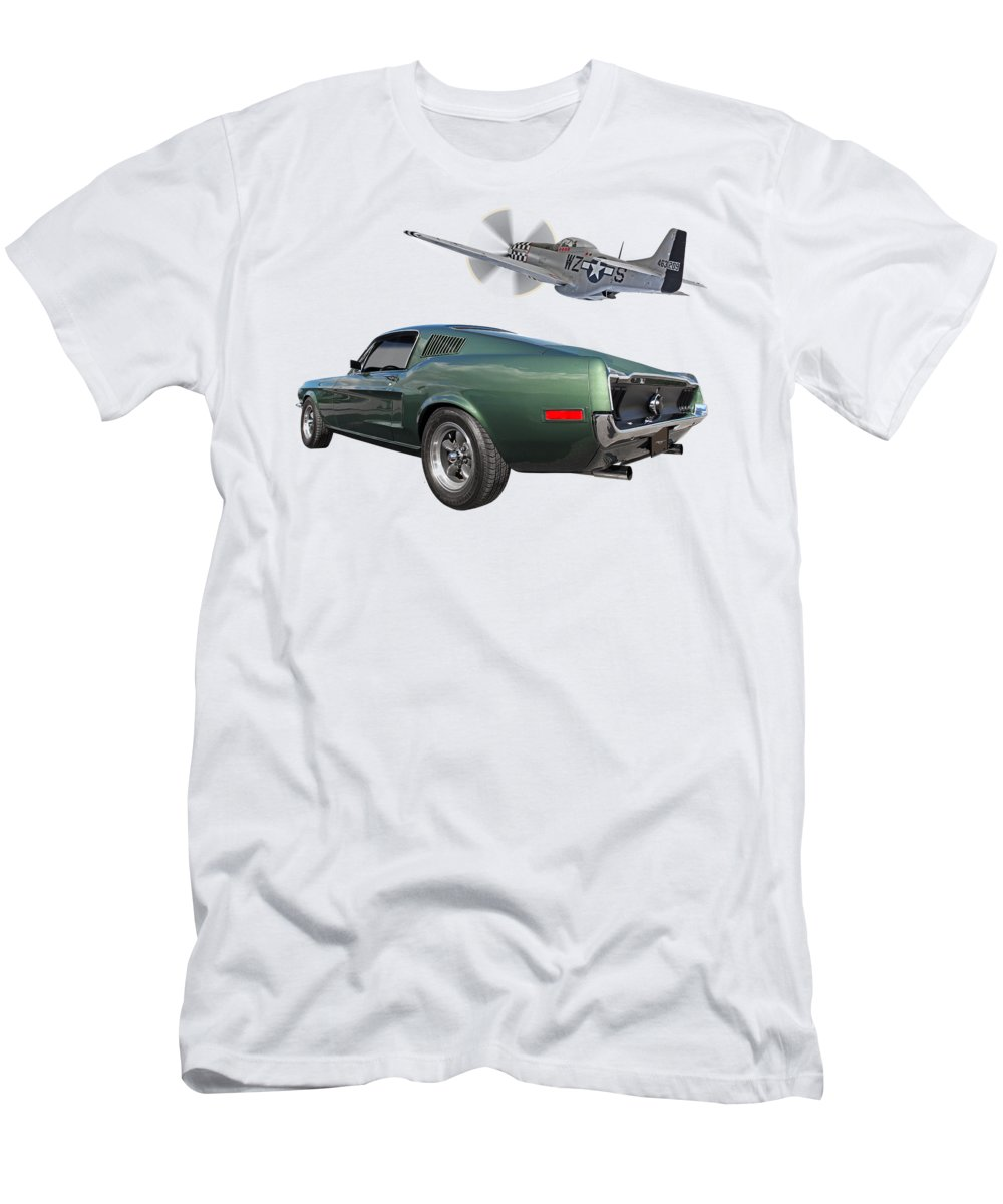 Ford Mustang Men's T-Shirt (Athletic Fit) featuring the photograph P51 With Bullitt Mustang by Gill Billington