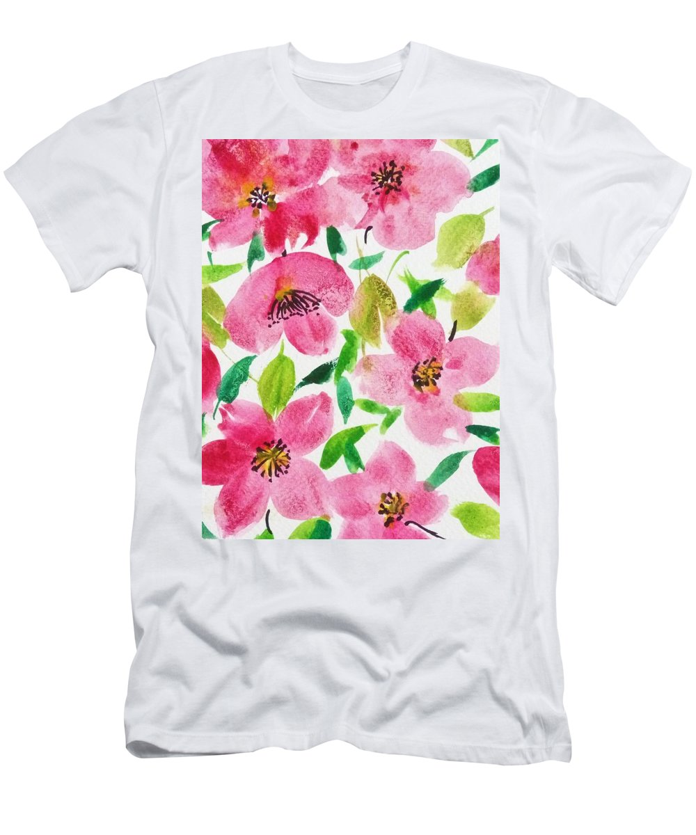 Florals Men's T-Shirt (Athletic Fit) featuring the painting Pink Spring by Shweta Saxena