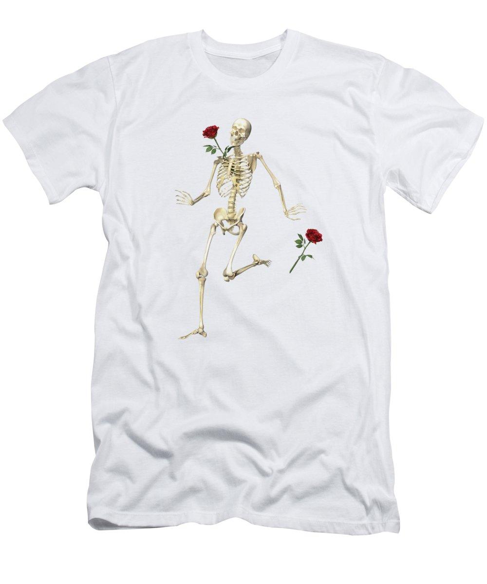 Human Men's T-Shirt (Athletic Fit) featuring the digital art Rambling Rose Running Skeleton by Betsy Knapp