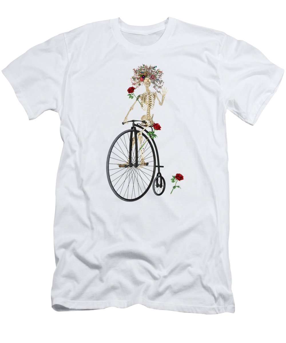 Skeleton Men's T-Shirt (Athletic Fit) featuring the digital art Rambling Rosy Penny Farthing by Betsy Knapp