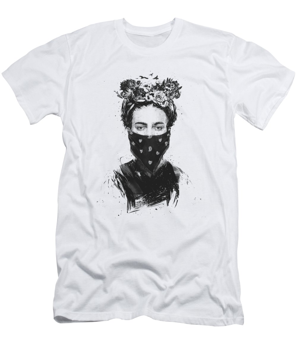 Girl Men's T-Shirt (Athletic Fit) featuring the drawing Rebel Girl by Balazs Solti