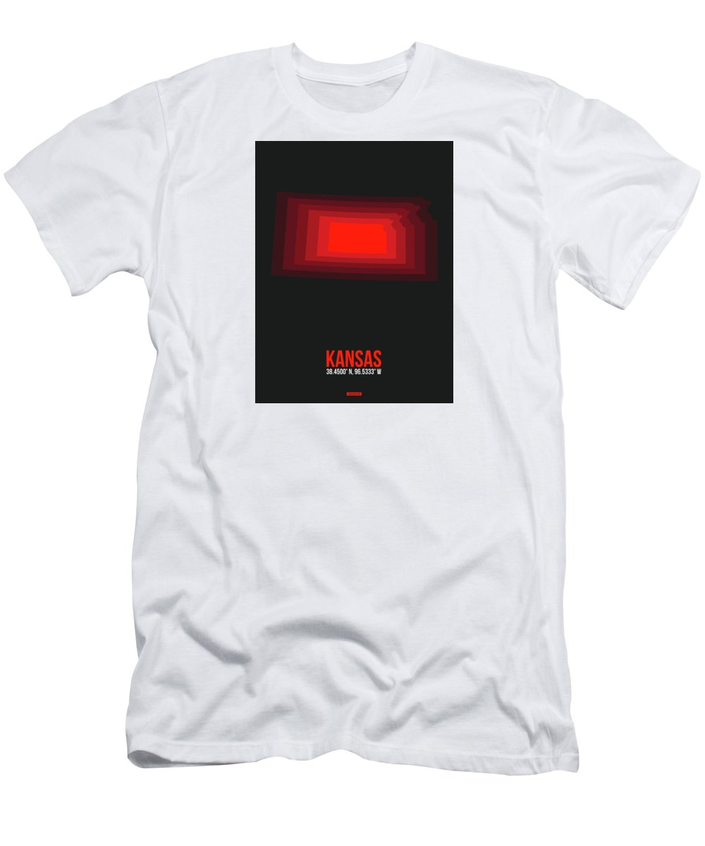 Men's T-Shirt (Athletic Fit) featuring the digital art Red Map Of Kansas by Naxart Studio