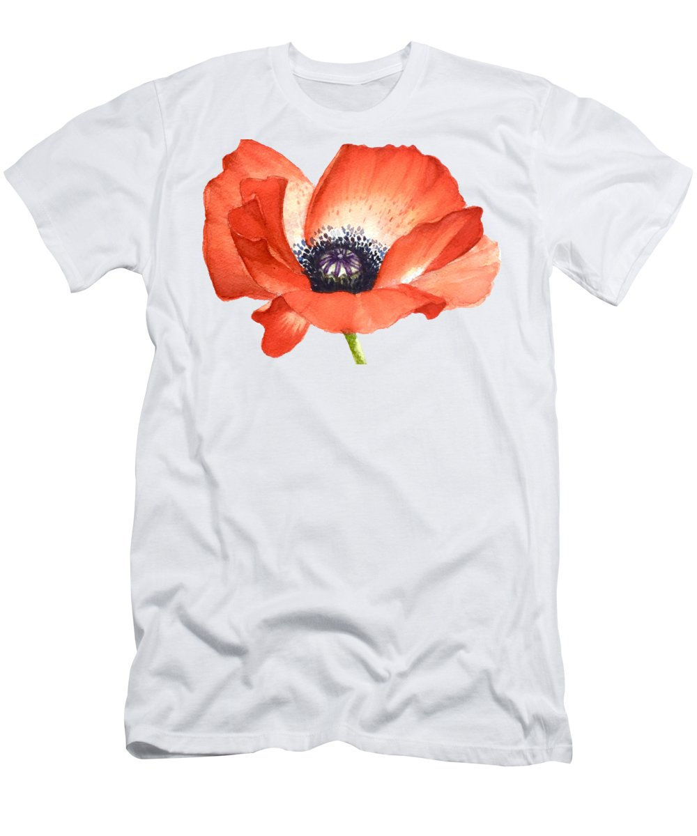 Print Men's T-Shirt (Athletic Fit) featuring the painting Red Poppy Flower, Image For Prints On Tshirt by Mahsa Watercolor Artist