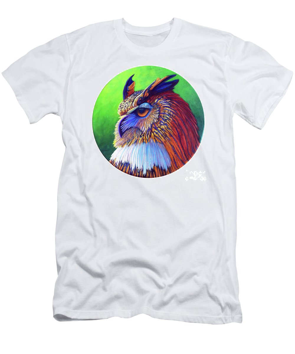 Owl Men's T-Shirt (Athletic Fit) featuring the painting Regal Gaze by Brian Commerford