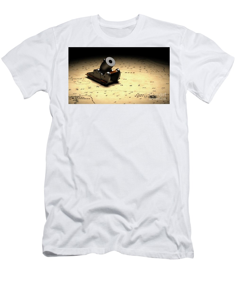 American Civil War Men's T-Shirt (Athletic Fit) featuring the digital art Representation Of The Gun Which Fired The Opening Shot Of The American Civil War by American School