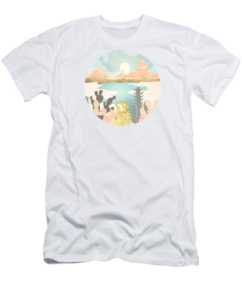 Desert T-Shirt featuring the digital art Retro Desert Oasis by Spacefrog Designs