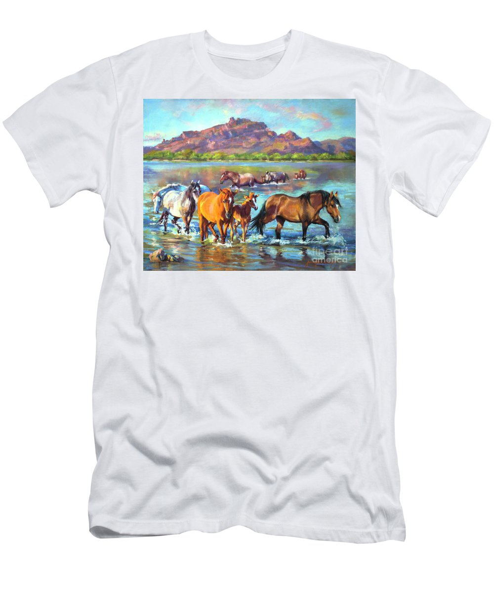Pastel T-Shirt featuring the painting Salt River Solitude by Jean Hildebrant