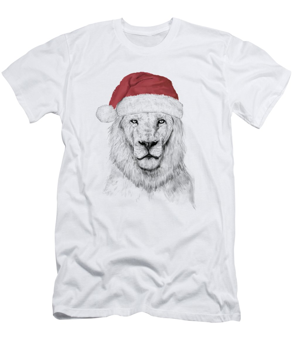 Lion Men's T-Shirt (Athletic Fit) featuring the mixed media Santa Lion by Balazs Solti