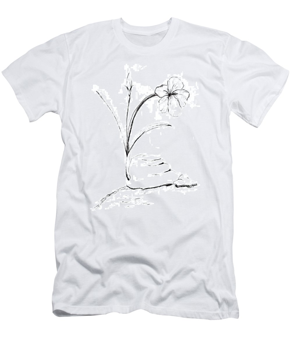 Sea Side Men's T-Shirt (Athletic Fit) featuring the drawing Sea Side Wild Flower Paint My Sketch by Delynn Addams