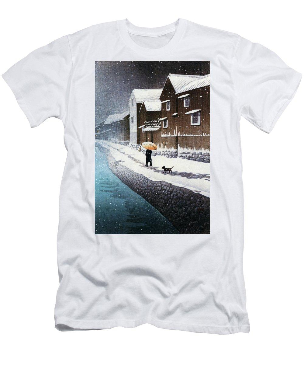 Kawase Hasui T-Shirt featuring the painting Selection of views of the Tokaido, Snow at Handa, near Nagoya - Digital Remastered Edition by Kawase Hasui