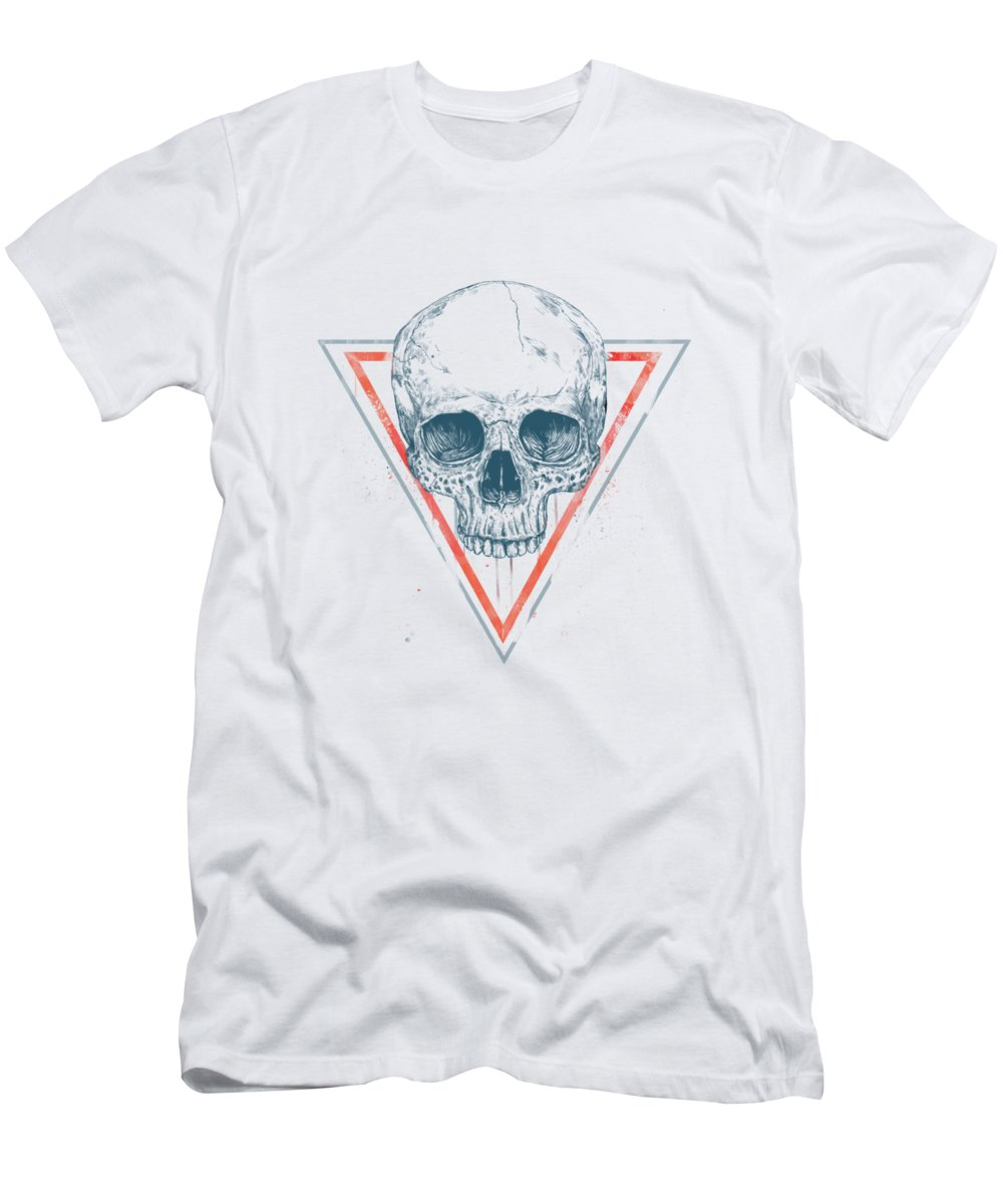 Skull Men's T-Shirt (Athletic Fit) featuring the drawing Skull In Triangles by Balazs Solti