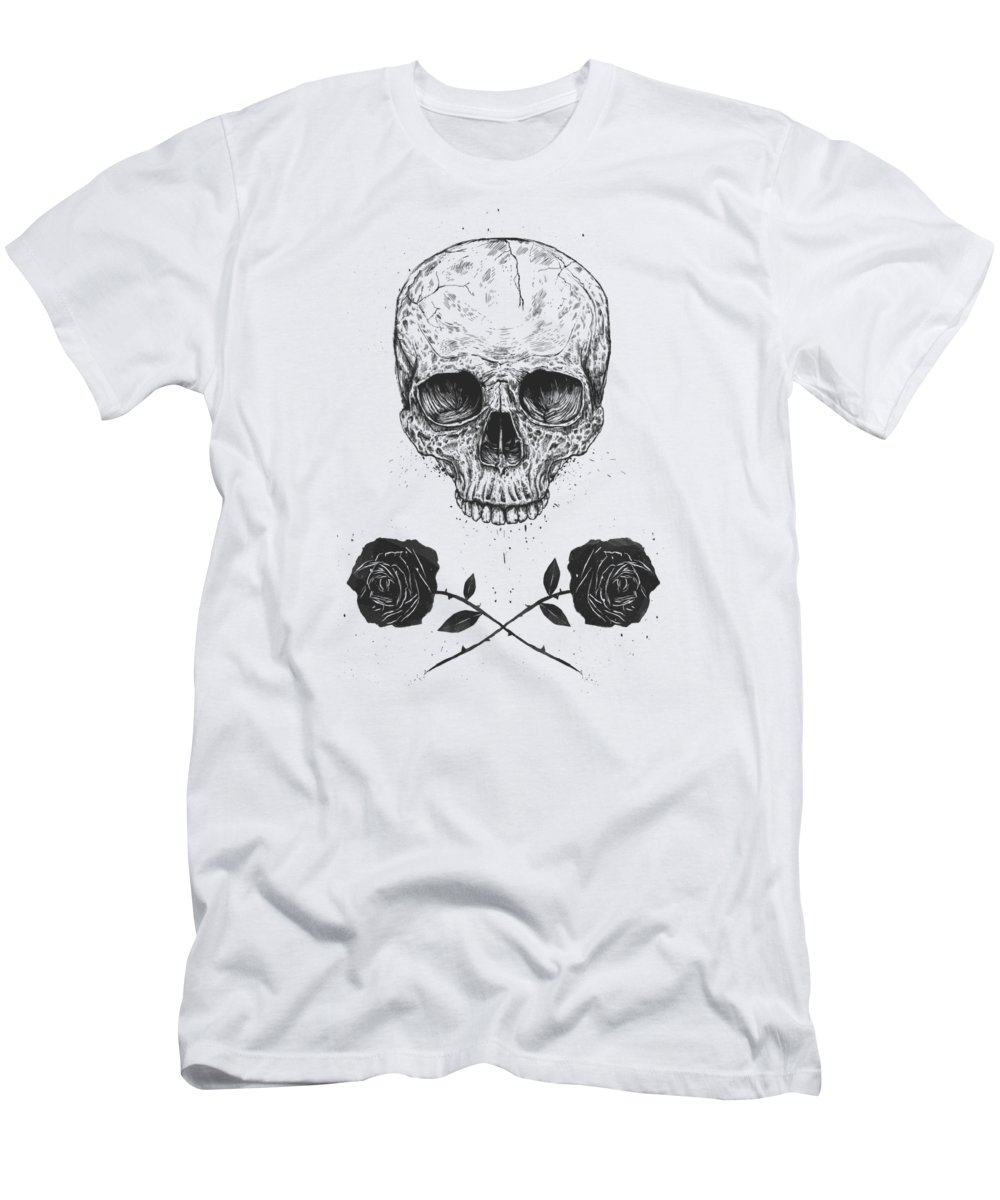 Skull T-Shirt featuring the drawing Skull N' Roses by Balazs Solti
