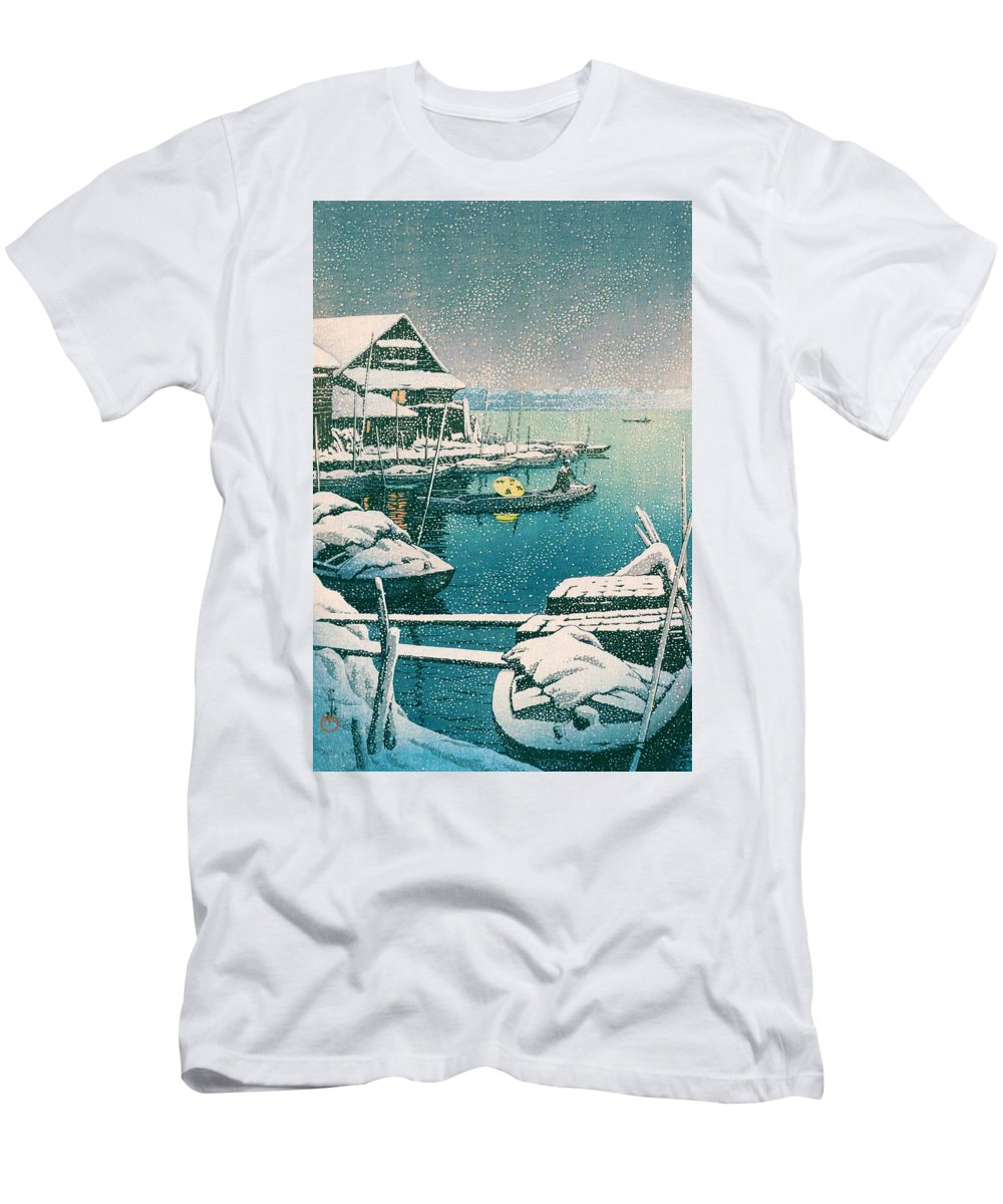 Kawase Hasui T-Shirt featuring the painting SNOW MUKOJIMA - Top Quality Image Edition by Kawase Hasui
