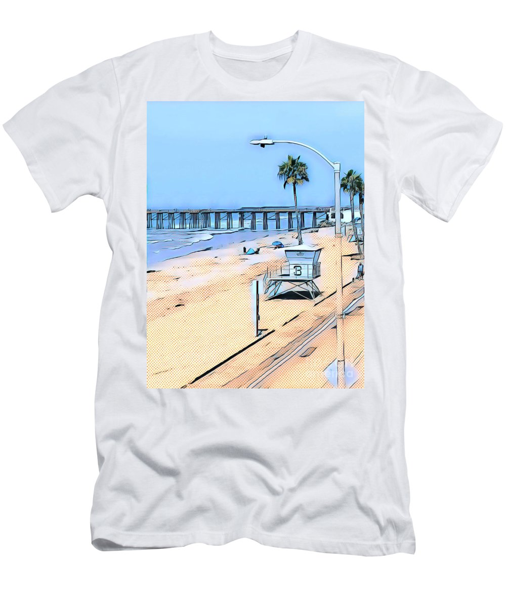 Lifeguard Ocean California Beach Summer Sea Blue Sand Sandy Beige Southern California Oceanside California Seaside Men's T-Shirt (Athletic Fit) featuring the mixed media Station 3 Oceanside California by Tammera Malicki-Wong