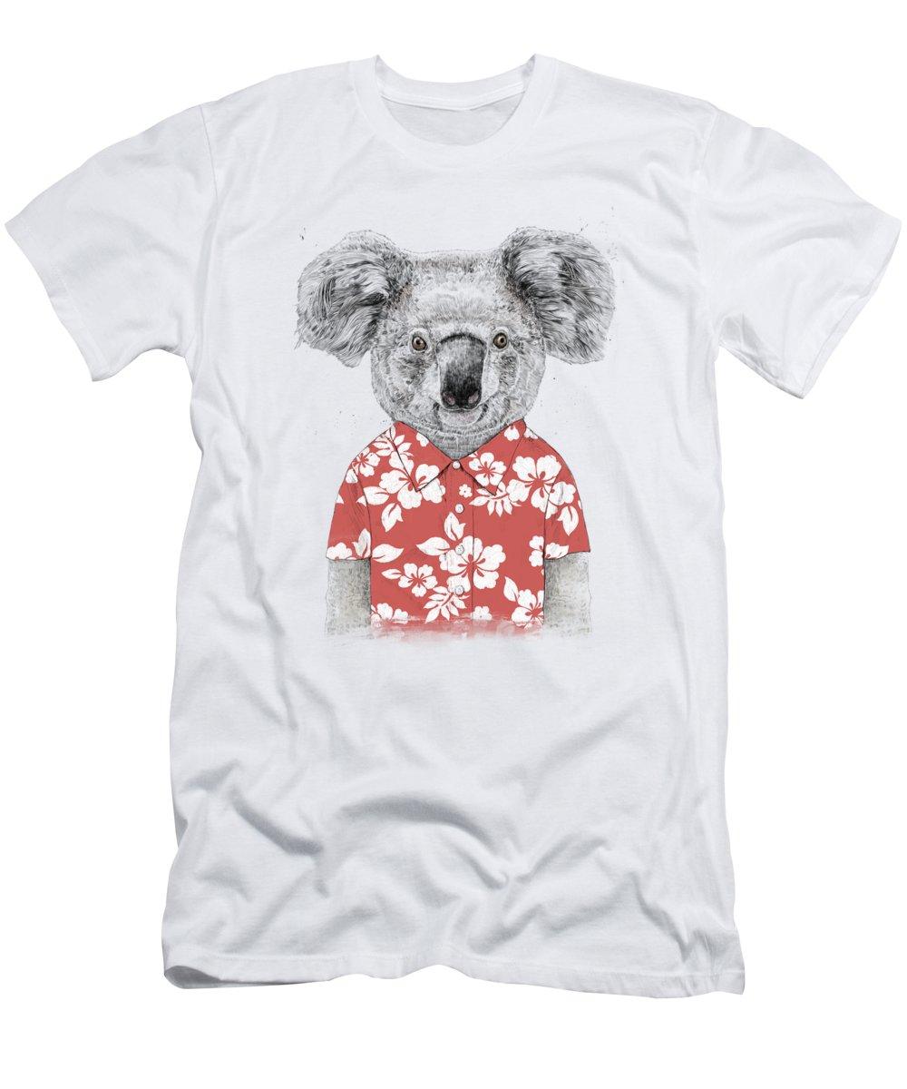 Koala T-Shirt featuring the drawing Summer koala by Balazs Solti