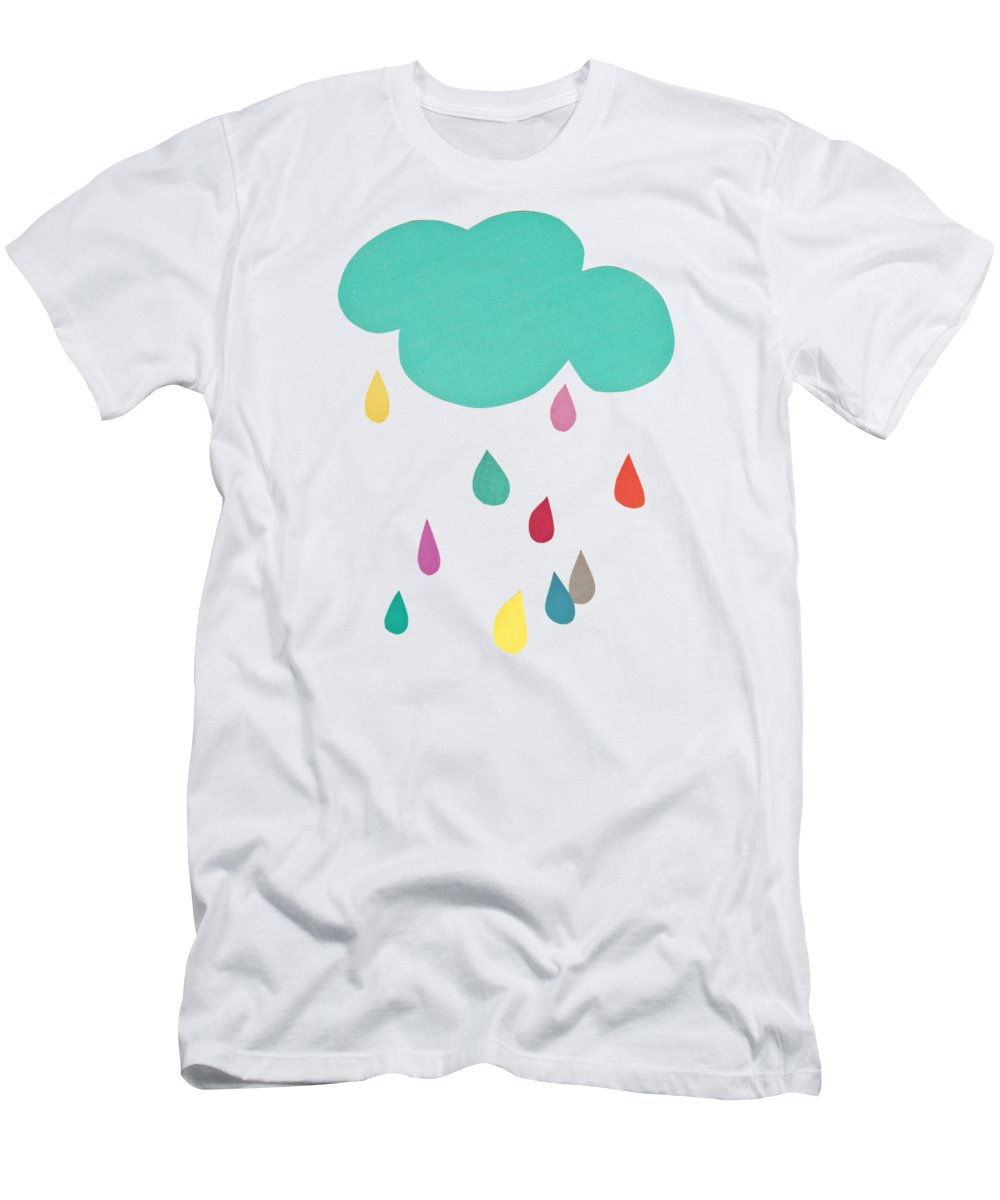 Clouds T-Shirt featuring the mixed media Sunshine and Showers by Cassia Beck