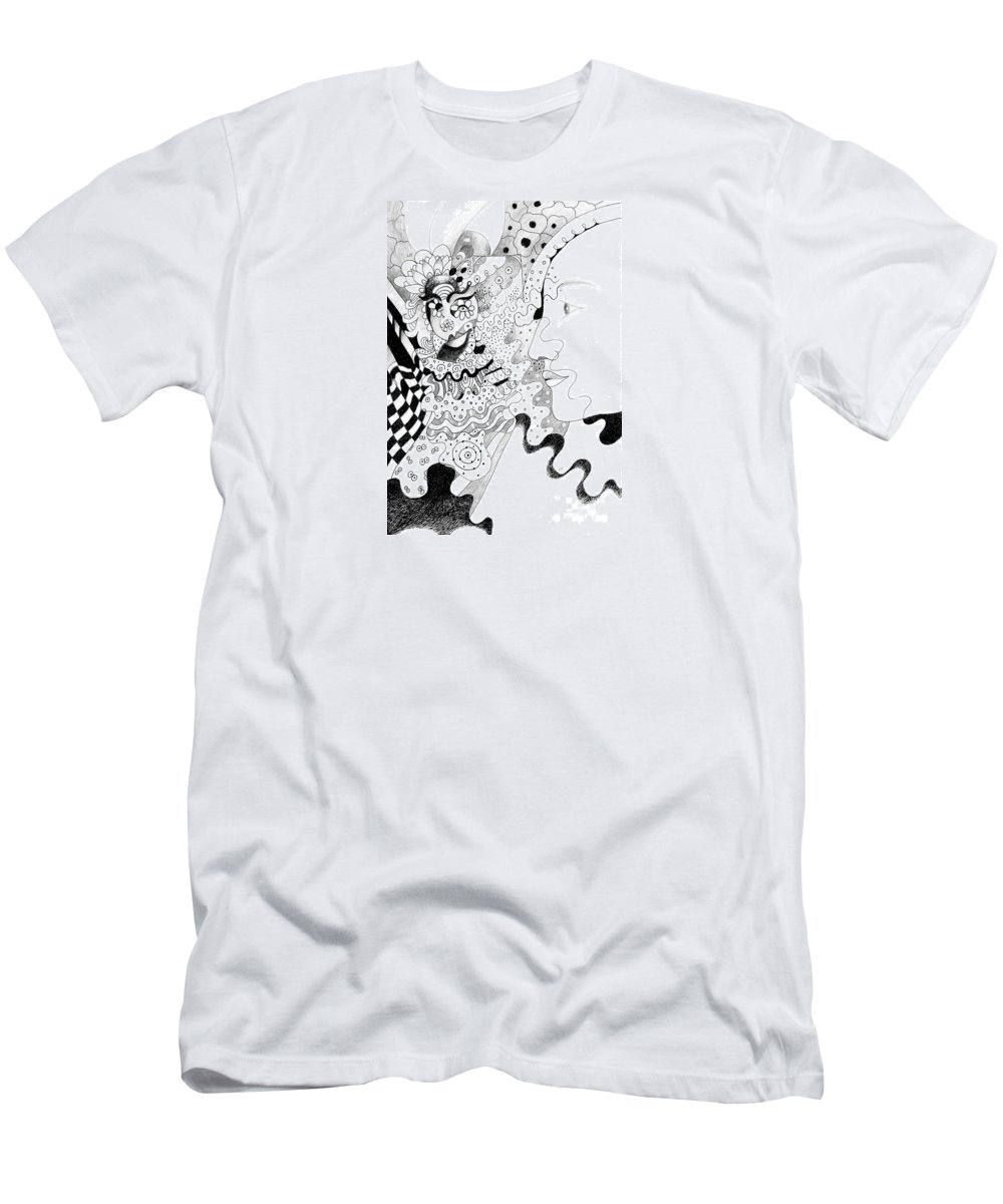 The Eye In The Sky Aka The I In The Sky By Helena Tiainen Men's T-Shirt (Athletic Fit) featuring the drawing The Eye In The Sky Aka The I In The Sky by Helena Tiainen