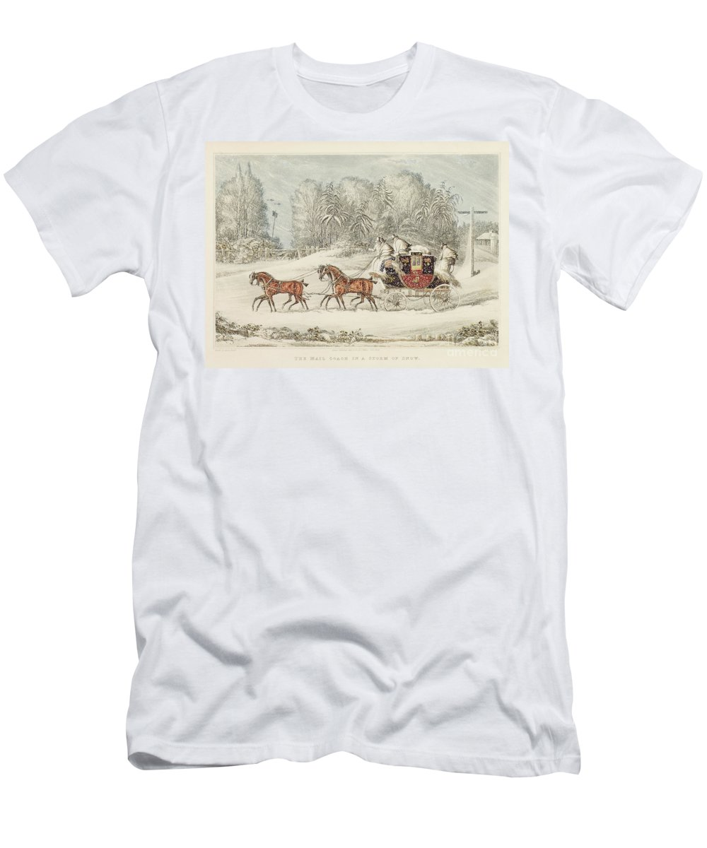 The Mail Coach In A Storm Of Snow T-Shirt featuring the painting The Mail Coach In A Storm Of Snow 1825 by James Pollard