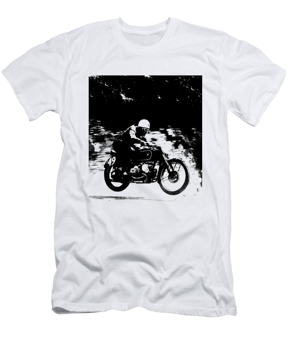 Vintage Motorcycle Racer Men's T-Shirt (Athletic Fit) featuring the photograph The Vintage Motorcycle Racer by Mark Rogan
