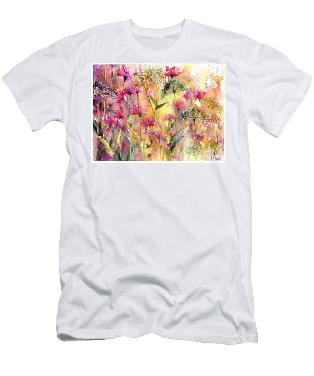 Pink Men's T-Shirt (Athletic Fit) featuring the painting Thistles Impression by Suzann Sines