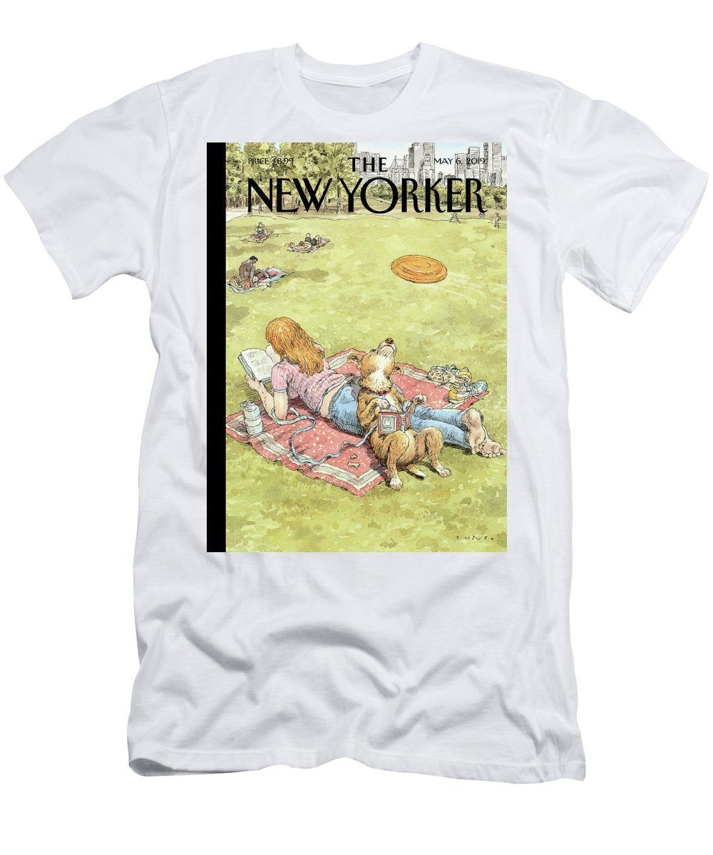 To Fetch Or Not To Fetch T-Shirt featuring the painting To Fetch or Not to Fetch by John Cuneo