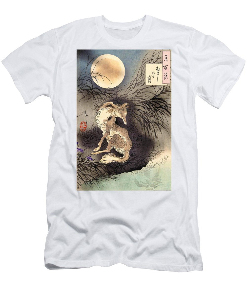 Tsukioka T-Shirt featuring the painting Top Quality Art - Moon and Fox by Tsukioka Yoshitoshi