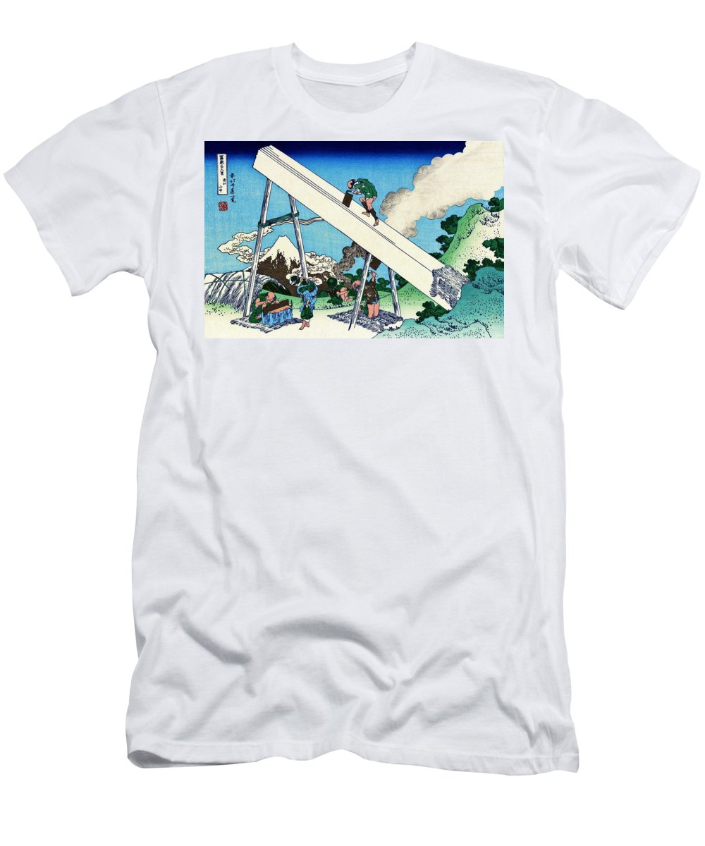 Mount Fuji Men's T-Shirt (Athletic Fit) featuring the painting Top Quality Art - Mt,fuji36view-toutoumi In The Mountains by Katsushika Hokusai