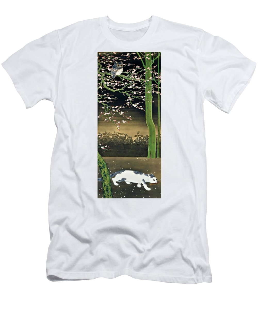 Omoda Seiju Men's T-Shirt (Athletic Fit) featuring the painting Top Quality Art - Spring Night by Omoda Seiju