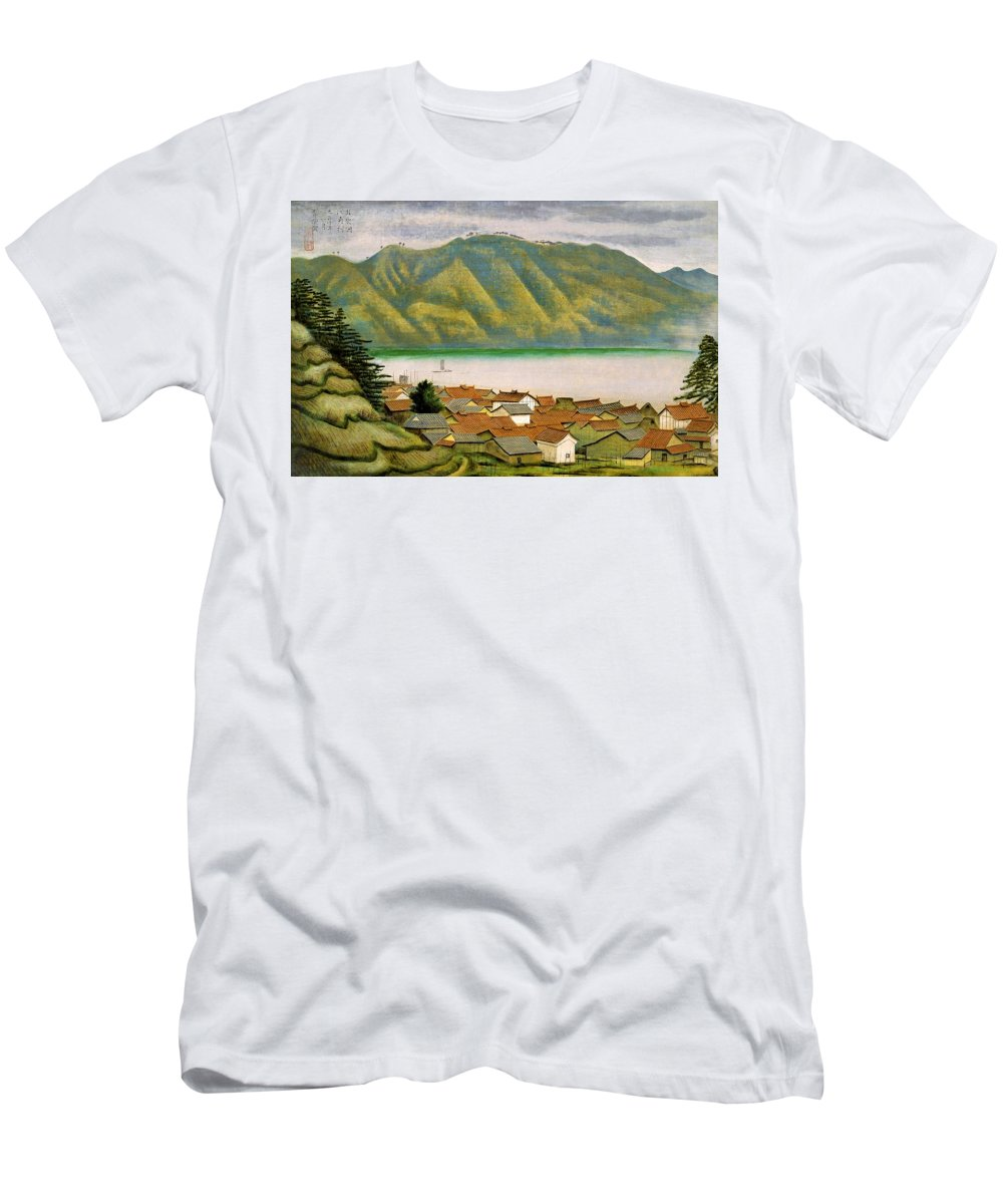 Omoda Men's T-Shirt (Athletic Fit) featuring the painting Top Quality Art - The Port Of Ezumi In Izumo by Omoda Seiju