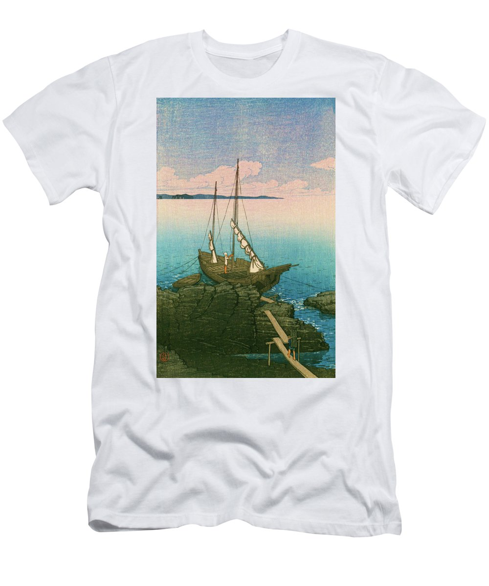 Kawase Hasui T-Shirt featuring the painting Travel souvenir First collection, Boshu, Stone pile - Digital Remastered Edition by Kawase Hasui