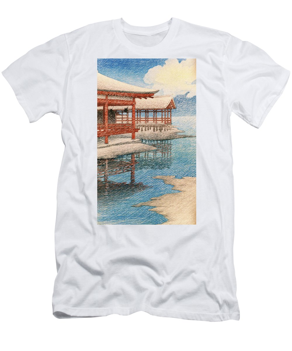 Kawase Hasui T-Shirt featuring the painting Travel souvenir second collection, Miyajima, Snow of fine weather - Digital Remastered Edition by Kawase Hasui