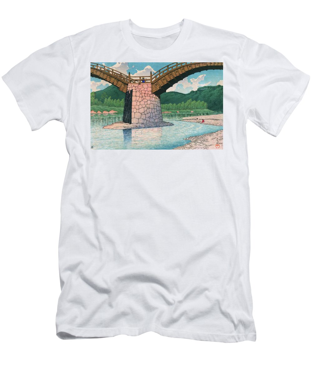 Kawase Hasui T-Shirt featuring the painting Travel souvenir third collection, Suo, Kintai bridge - Digital Remastered Edition by Kawase Hasui