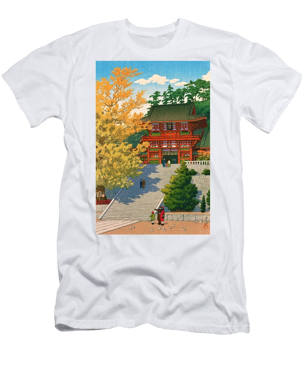 Kawase Hasui Men's T-Shirt (Athletic Fit) featuring the painting Tsuruokahachimangu - Top Quality Image Edition by Kawase Hasui