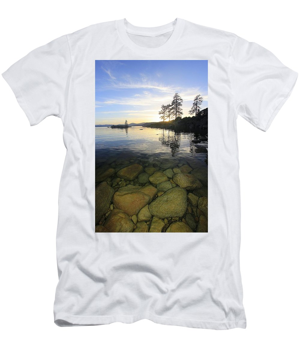 Lake Tahoe Men's T-Shirt (Athletic Fit) featuring the photograph Twilight Immersion by Sean Sarsfield