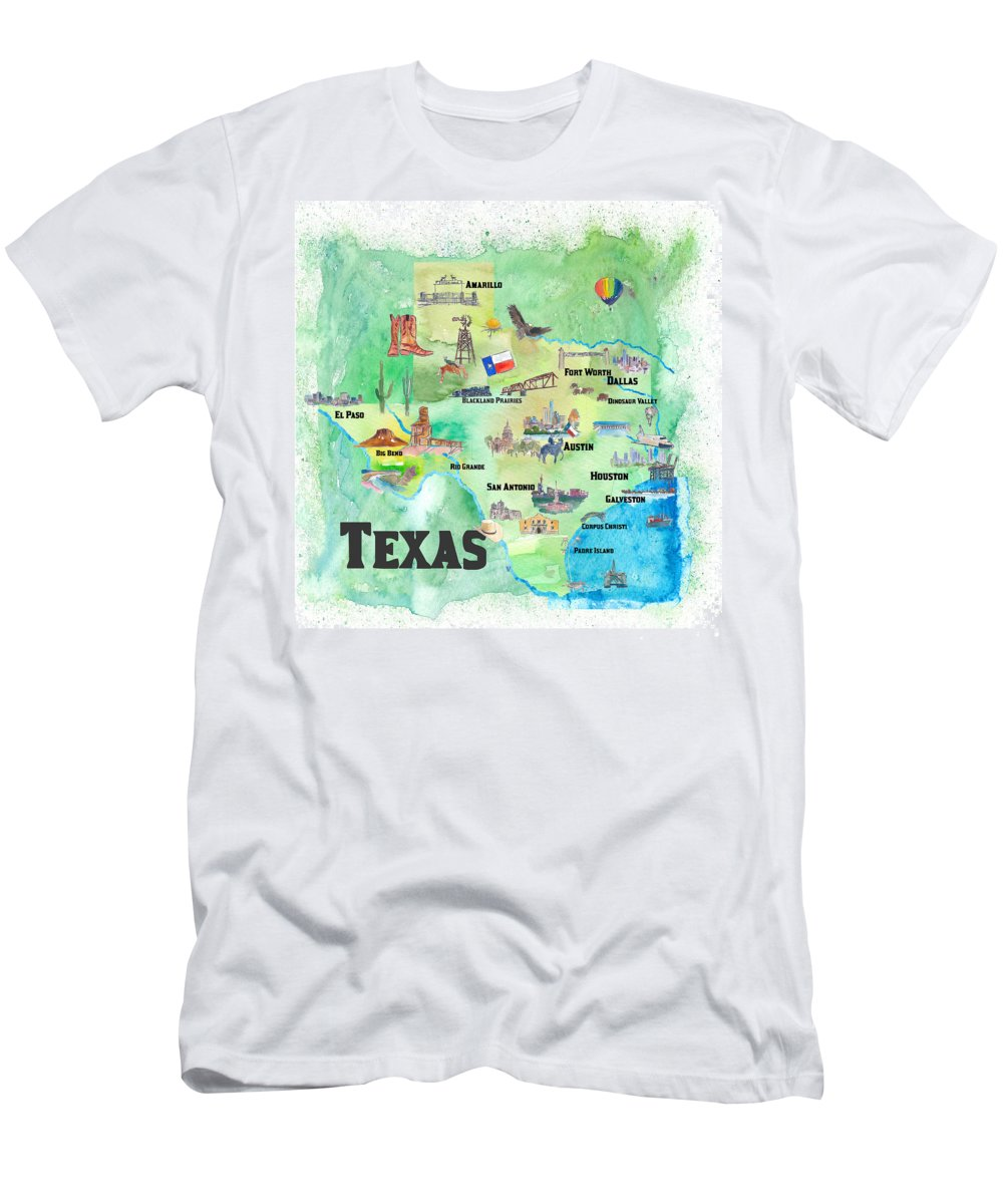Texas Map Men's T-Shirt (Athletic Fit) featuring the painting Usa Texas Travel Poster Map With Highlights by M Bleichner