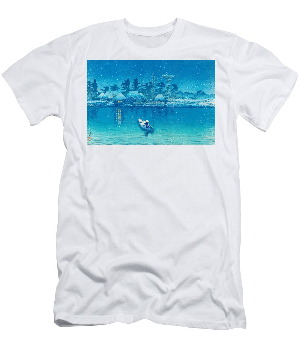 Kawase Hasui Men's T-Shirt (Athletic Fit) featuring the painting Ushibori - Top Quality Image Edition by Kawase Hasui